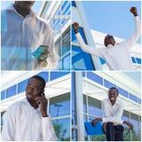 Riuscito collage dell'uomo d'affari Fotografia Stock