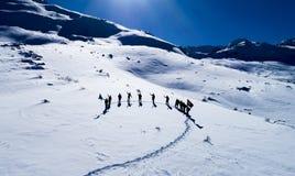 Riuscito e gruppo felice dell'alpinista Immagine Stock Libera da Diritti