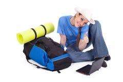 Riuscito giovane turista femminile Fotografie Stock