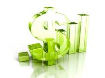 Riuscito istogramma con il simbolo del dollaro di vetro verde Immagini Stock Libere da Diritti