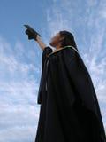 Riuscito laureato della femmina   Fotografie Stock