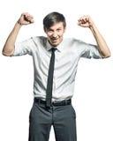 Riuscito uomo d'affari che fa gesto di vittoria Immagini Stock Libere da Diritti