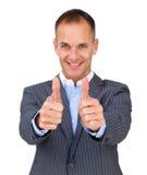 Riuscito uomo d'affari con i pollici in su Fotografie Stock Libere da Diritti