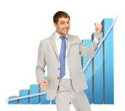 Riuscito uomo d'affari con il grafico 3d Fotografie Stock Libere da Diritti