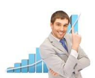 Riuscito uomo d'affari con il grafico 3d Fotografia Stock Libera da Diritti