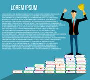 Riuscito uomo d'affari istruito Winner che legge i libri illustrazione di stock