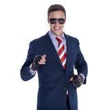 Riuscito uomo d'affari in vetri ed in guanti Fotografie Stock