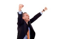 Riuscito uomo gesturing di affari Fotografia Stock Libera da Diritti