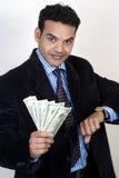 Riuscito uomo indiano di affari con soldi Immagini Stock Libere da Diritti