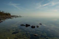 Riva calma del lago Huron Fotografia Stock Libera da Diritti