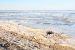 Riva congelata del lago Fotografie Stock Libere da Diritti