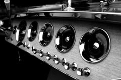 Riva dash. A black and white shot of the dashboard in a Riva boat stock photos