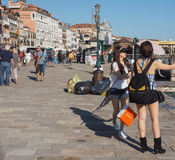 Riva degli Schiavoni i Venedig Royaltyfri Bild