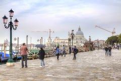 Riva degli Schiavoni invallning Venedig Arkivbild