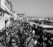 Riva degli Schiavoni in Venice in black and white Stock Images