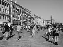 Riva degli Schiavoni in Venice in black and white Royalty Free Stock Photos