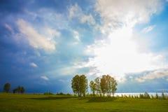 riva del campo e degli alberi del lago di mattina ad alba Fotografie Stock Libere da Diritti
