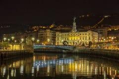 Riva del fiume alla notte a Bilbao, Spagna Fotografia Stock Libera da Diritti