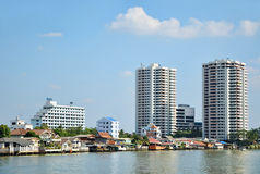 Riva del fiume di Bangkok Fotografie Stock