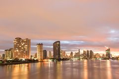Riva del fiume di Chao Phraya di paesaggio urbano delle costruzioni a Bangkok Tailandia Fotografia Stock Libera da Diritti