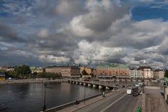 Riva del fiume di Stoccolma Immagini Stock
