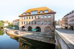 Riva del fiume di vecchia città in Nurnberg, Germania immagine stock
