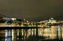 Riva del fiume entro la notte a Oporto Portogallo Immagine Stock Libera da Diritti