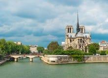Riva del fiume esteriore carhedral di Notre Dame de Paris Immagini Stock Libere da Diritti