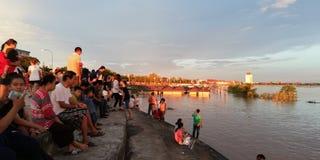 Riva del fiume del Mekong in laotiano PDR di Vientiane fotografia stock