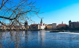 Riva del fiume a Praga Immagini Stock Libere da Diritti