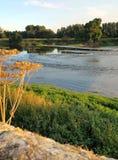 Riva del fiume a tempo di sera Fotografia Stock