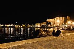 Riva Del Garda boardwalk by night - Italy Royalty Free Stock Photo
