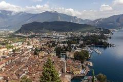 Riva del Garda by Garda Lake. Panorama of Riva del Garda by the Lake Garda, Italy stock image