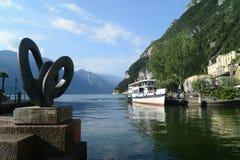 Riva Del Garda hamn, Italien Arkivfoto
