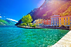 Riva del Garda waterfront view at sunset. Lago di Gada, Trentino Alto Adige region of Italy Royalty Free Stock Photography