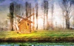 Riva del lago del mulino a vento Fotografia Stock Libera da Diritti