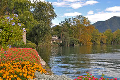 Riva del lago di Lugano Immagini Stock Libere da Diritti