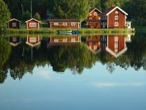 Riva del lago svedese Fotografia Stock