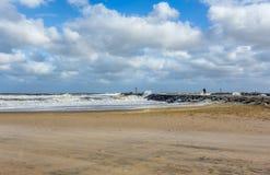 Riva del New Jersey della spiaggia all'entrata di Manasquan Fotografie Stock
