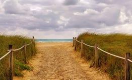 Riva del percorso dell'oceano alla spiaggia sabbiosa Immagine Stock