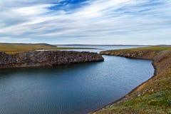 Riva del sud di Novaya Zemlya Fotografie Stock
