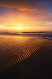 Riva della spiaggia al tramonto fotografia stock