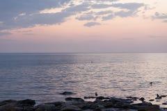 Riva di mare calmo nei raggi del cielo di tramonto Battiti di Wave sulla riva di mare Colore rosa del cielo Immagini Stock