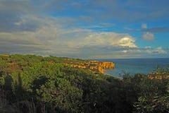Riva di mare con la scogliera dell'arenaria e la vegetazione subtropicale verde immagini stock libere da diritti