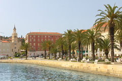 Riva promenade and St Francis church. Split. Croatia Royalty Free Stock Images