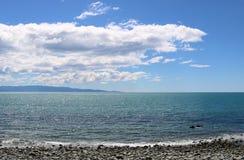 Riva, sole, mare, cielo, orizzonte, costa, Nuova Zelanda Fotografia Stock Libera da Diritti