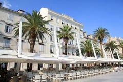 The Riva in Split Croatia. Street cafes on the main seaside promenade in Split Croatia Stock Photos