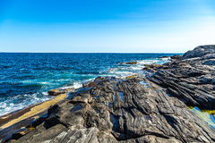 Rivage de parc de phare de point de Pemaquid image stock