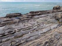 Rivage rocheux de la Mer Caspienne Photos libres de droits