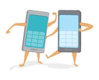 Rival mobile phones battling a technology fight. Cartoon illustration of rival mobile phones competing and fighting Stock Photo